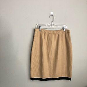 ST.JOHN Vintage Camel Ribbed sweater knit Skirt 12